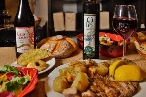 Etna rosso e olio a cena